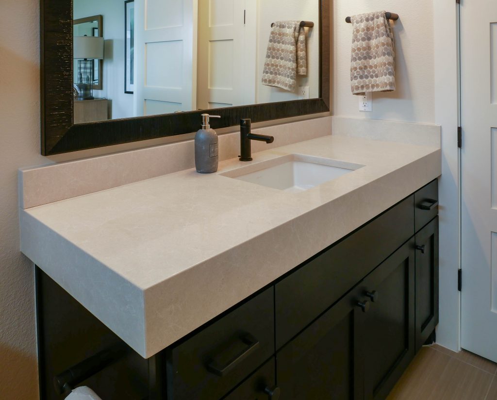 Caesarstone quartz bathroom vanity austin texas
